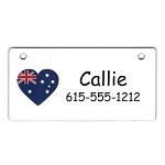 Australia Heart Flag Crate Tag Personalized With Your Dog's Name